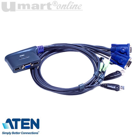 Aten CS62U Petite 2 port USB KVM Switch w/Audio cable built in