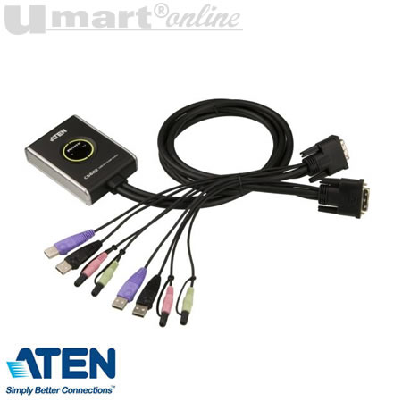 Aten CS-682 2Port  USB KVM Switch w Audio&Remote button cables