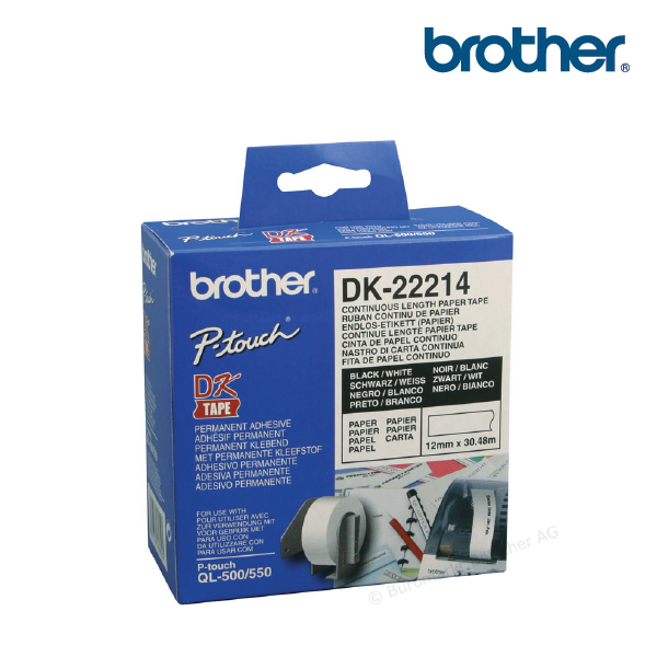 Brother DK-22214 White Continuous Paper Roll 12mmx 30.48mm