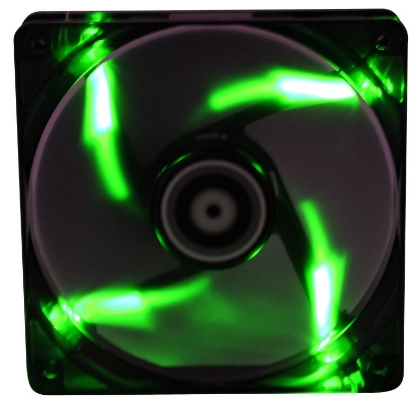 BitFenix Spectre 120mm Black Tinted Transparent Fan with GREEN-LED , 120x120x25mm, Fluid Dynamic Bea