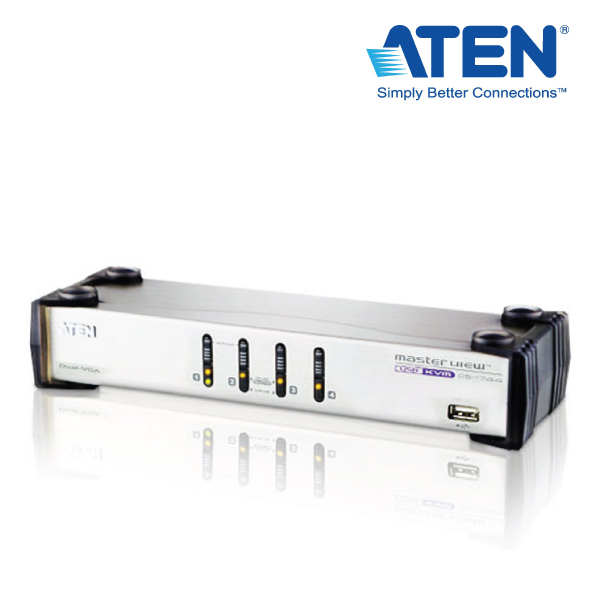 Aten CS1744C-AT 4 Port USB Dual-View KVMP Switch w/ USB Hub & Audio - Cables Included