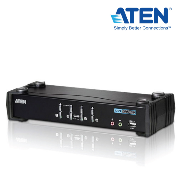 Aten 4 Port USB DVI KVMP Switch w/ USB 2.0 Hub and Audio - Cables Included