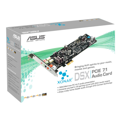 Asus Xonar DSX PCIE soundcard, 7.1 Channel DTS Digital Surround, 192kHz/24bit Playback Support,