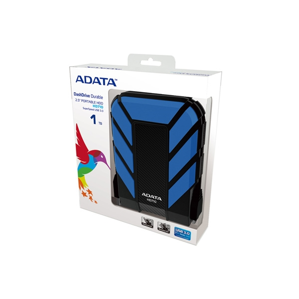 ADATA HD710B Durable Waterproof Shock Resistant 1TB USB3.0 External HDD Blue