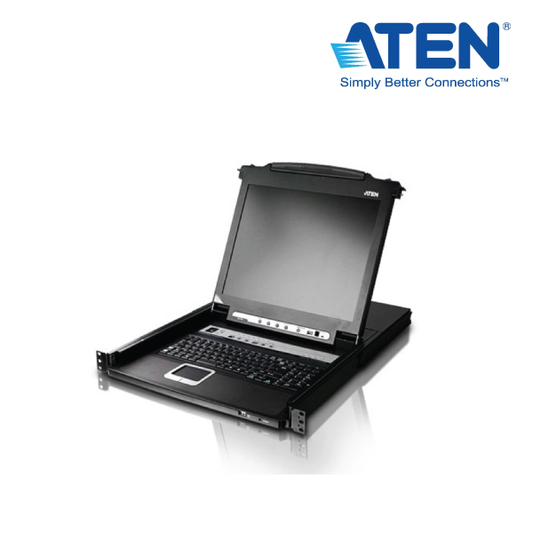 "Aten 8 Port Rackmount USB-PS/2 Single Rail Slideaway 17"" LCD KVMP Switch with USB Hub and D/Chain"