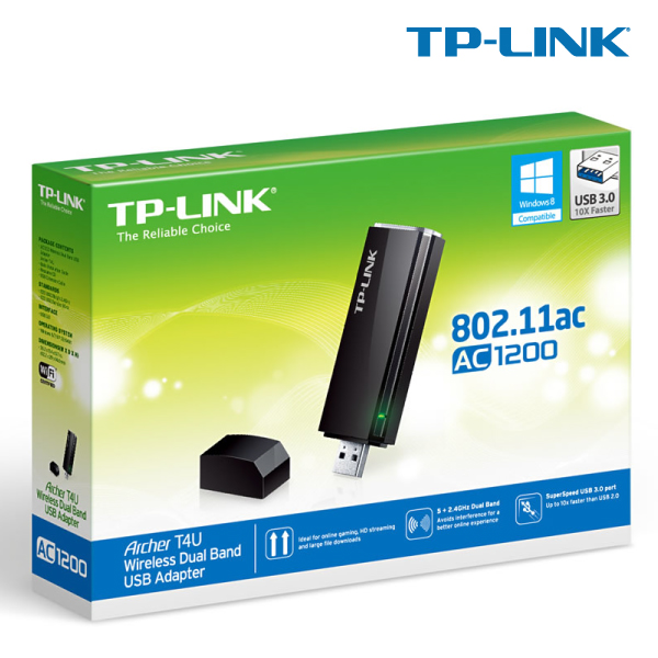 TP-LINK ARCHER T4U AC1200 Wireless Dual Band USB Adapter, Ultra-fast 1200 (867+300)Mbps, 802.11