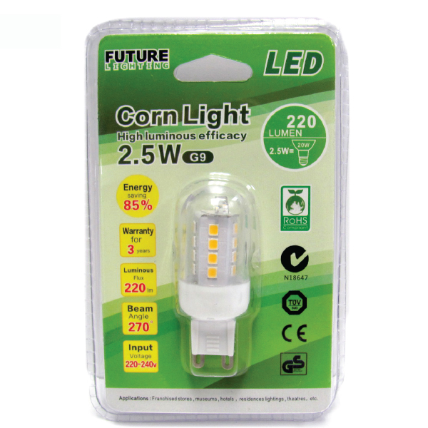 LED Corn Light 2.5W 4000K /1 Pack G9