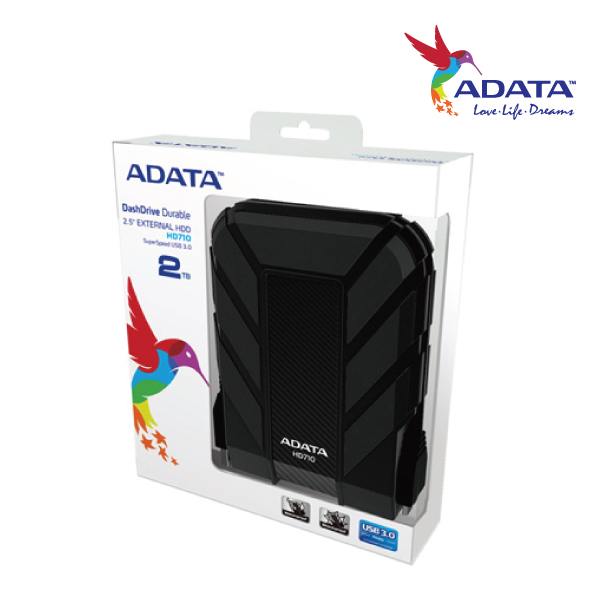 ADATA HD710 Durable Waterproof Shock Resistant 2TB USB3.0 External HDD Black