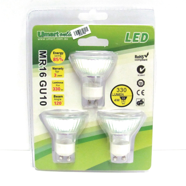 LED GU10 MR16 Spot light 4000K 4W/3Pack