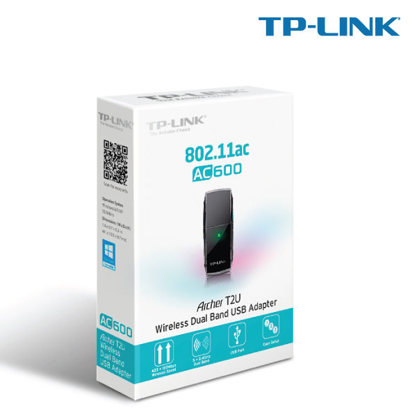 TP-LINK ARCHER T2U AC600 Wireless Dual Band USB Adapter, 600 (433+150)Mbps, 802.11ac, Omni Dire