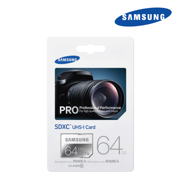 Samsung SDXC 64GB PRO, UHS-I Class 10, Up to 90MB/s read, 80MB/s Write, 10 Years Limited Warranty