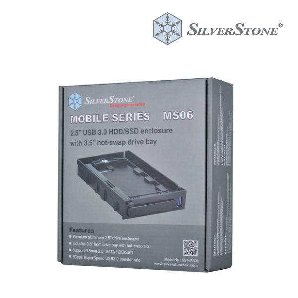 "SilverStone Black MS06 2.5"" USB3 External Enclosure & 3.5"" Hot Swap Bay"
