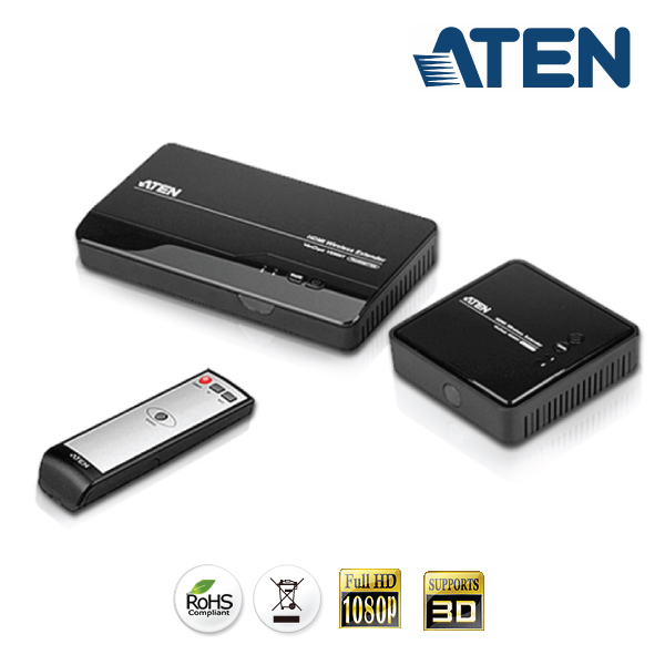 Aten VE-809 Wireless HDMI Extender (up to 30m range, Full HD 1080p, 3D Supported) - 2x HDMI Switch