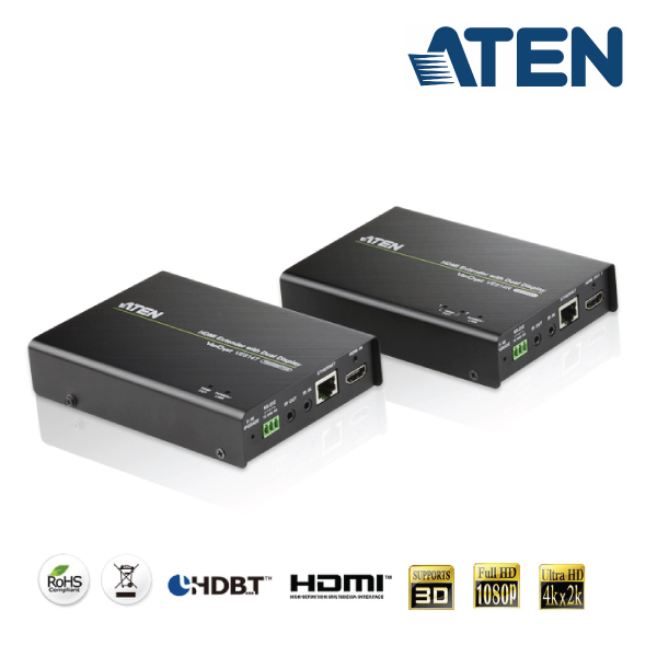 Aten VE-814 VanCryst Dual Display HDMI Over Cat5 Video Extender with Audio & Infra-Red Control