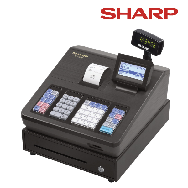Sharp XEA207B Cash Register with Raised Keyboard/Black.