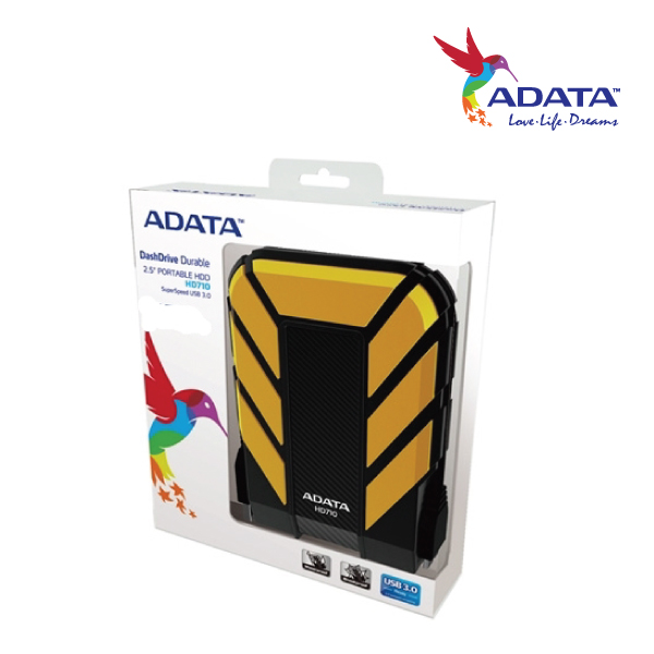 ADATA HD710 Durable Waterproof Shock Resistant 2TB USB3.0 External HDD Yellow