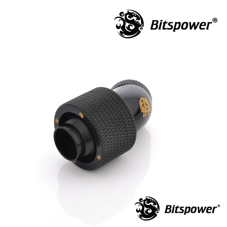 Bitspower G1/4 Matte Black Dual Rotary 45 Degree Compression 1/2 Fitting