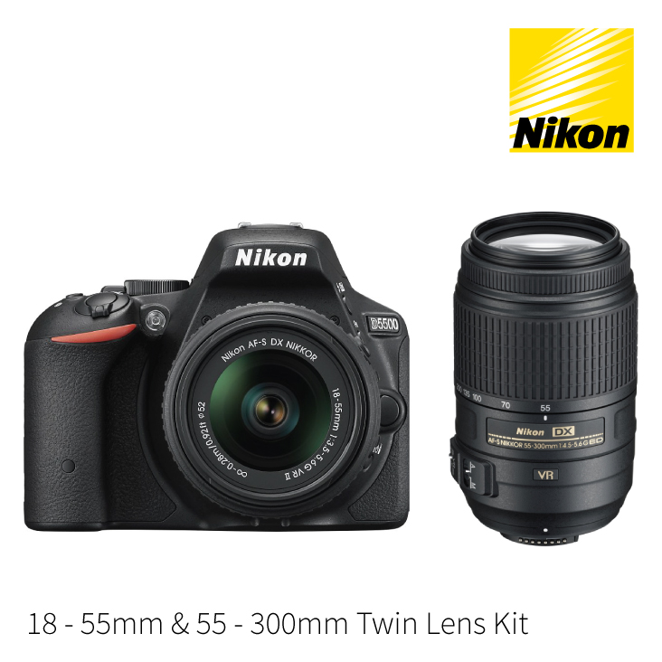 Nikon D5500 DSLR Camera 18-55mm and 55-300mm Twin Lens Kit