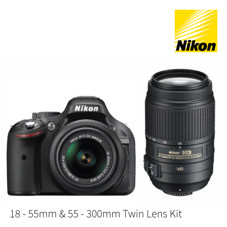 Nikon D5200 DSLR Camera 18-55mm and 55-300mm Twin Lens Kit
