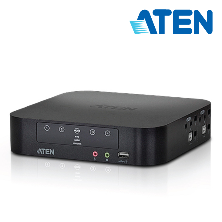 Aten 4 Port USB Dual-View Mini DisplayPort KVMP Switch with Audio and USB 2.0 Hub - Cables Included