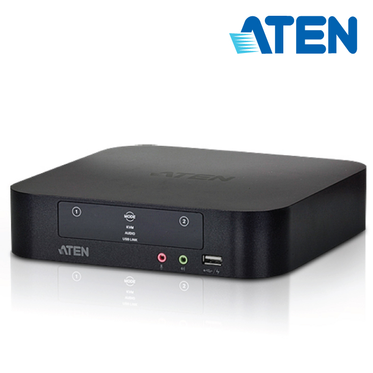 Aten 2 Port USB Dual-View Mini DisplayPort KVMP Switch with Audio and USB 2.0 Hub - Cables Incl