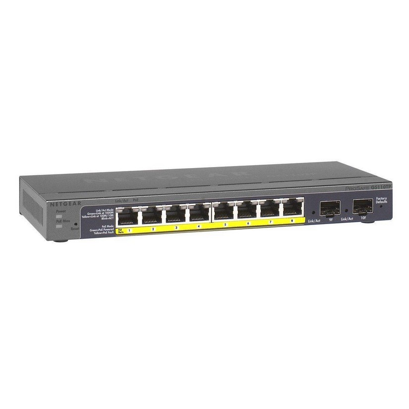 NETGEAR GS110TP ProSafe 8-port Gigabit Ethernet PoE Smart Switch with 2 Gigabit Fibre SFP