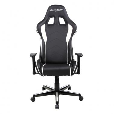 DXRacer FL08 Series Gaming Chair, Sparco Style, Neck/Lumbar Support - Black & White