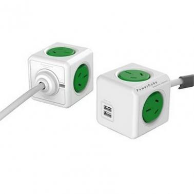 Allocacoc PowerCube Extended USB Green 4 Outlets, 2 USB, 3M
