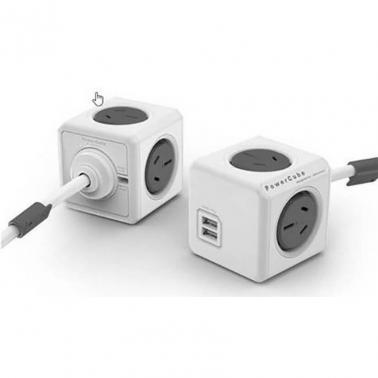Allocacoc PowerCube Extended USB 4 outlets 2 USB 1.5M Grey