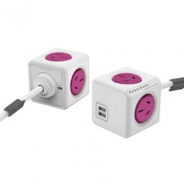 Allocacoc PowerCube Extended USB 4 outlets 2 USB 1.5M Pink