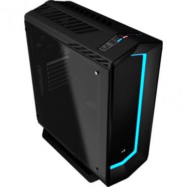 Aerocool P7-C1 Black Mid Tower Case USB 3.0, 7 color LED front panel Tempered Glass
