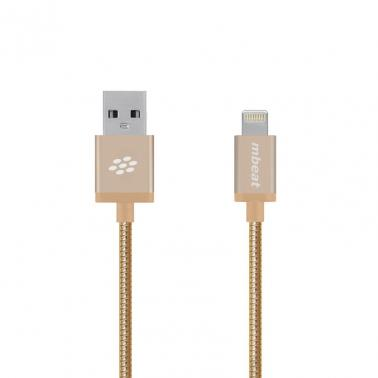 mbeat Toughlink Gold 1.2m Metal Braided MFI Lightning Cable