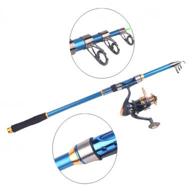 Portable 2.1M 6.89FT Telescopic Fishing Rod Tackle Travel Spinning Fishing Pole