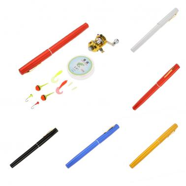 1M Mini Portable Pocket Aluminum Alloy Fishing Rod Pen Shape Pole Fish Reel Drum Wheel Fishing Line Soft Bait Jig Hook F